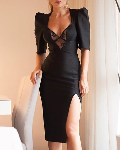 Mesh Lace Insert Puffed Sleeve Slit Dress