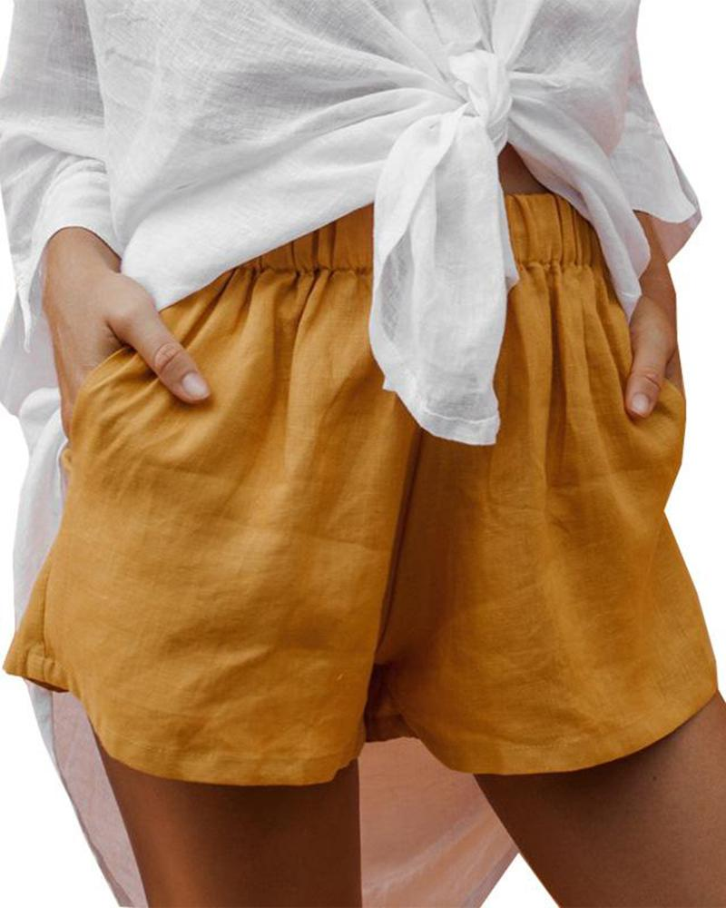 Solid color casual cotton and linen shorts