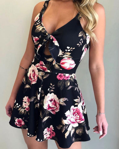 Floral Print Thin Strap Tied Pleated Romper