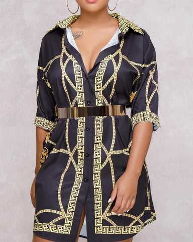 Fashion Digital Printed Leisure Shirt Dress