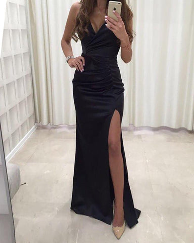 Solid Spaghetti Strap Ruched Slit Bodycon Dress