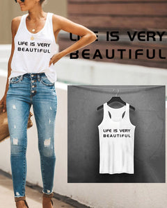 Summer Casual Letter Print Tank Top