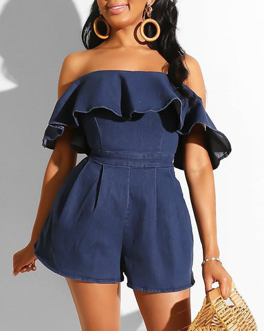 Off Shoulder Ruffles Denim Romper