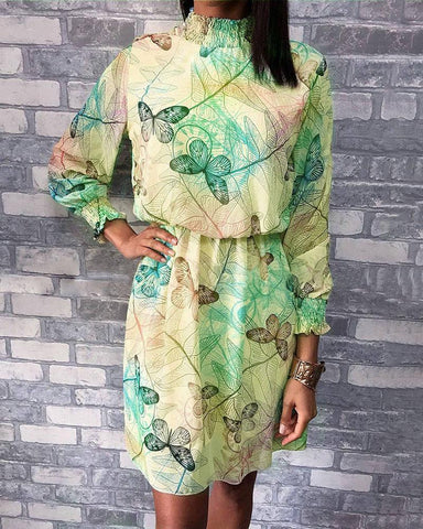Shirring Detail Leaf Print Casual Dress