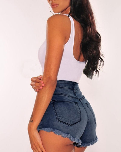 Fringes Hem High Waist Denim Shorts