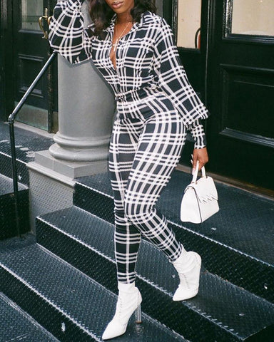 Striped Grid Buttoned Casual Jumpsuit