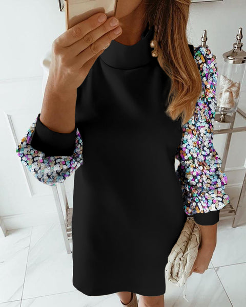 Colorblock Insert Mock Neck Lantern Sleeve Sequins Dress