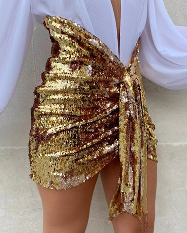 Glitter Ruched Twisted Sequins Skirts