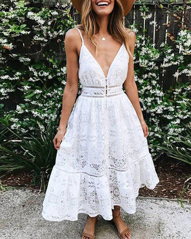 Sling Wrapped Chest Lace Halter Dress