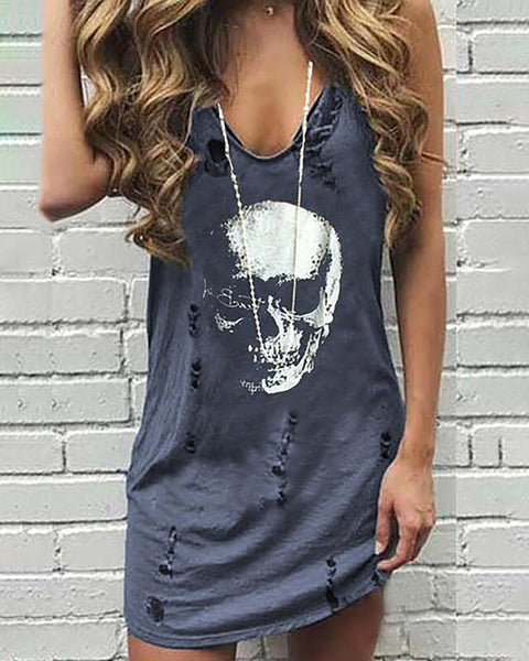 Skull Print Hollow Out Casual Dress