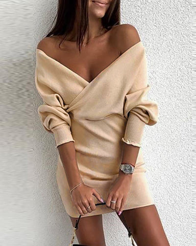 Solid Off Shoulder Tight Waist Dress