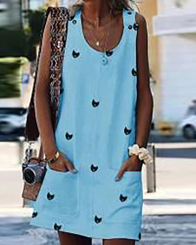 Print button strap dress