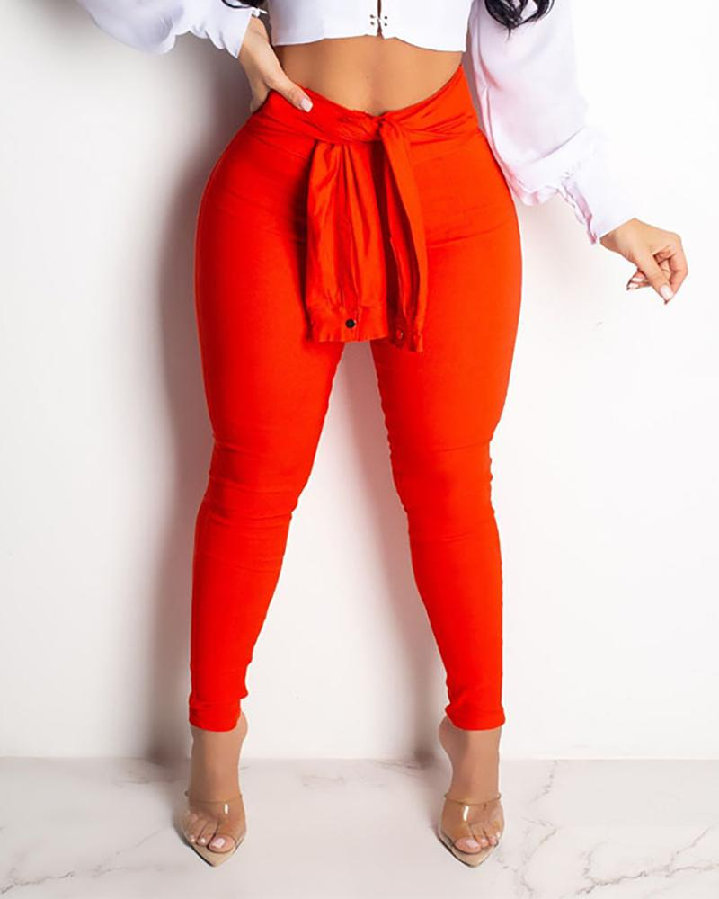 Solid High Waist Pants