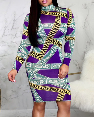 Slim Long-sleeved Printed Dress