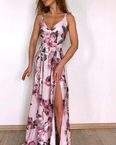 Floral Print High Slit Ruched Maxi Dress