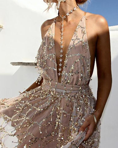 Plunge Crisscross Back Sequins Party Dress