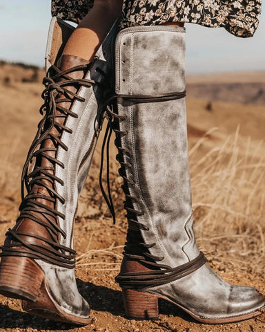 Lace-Up Back Tall Boots