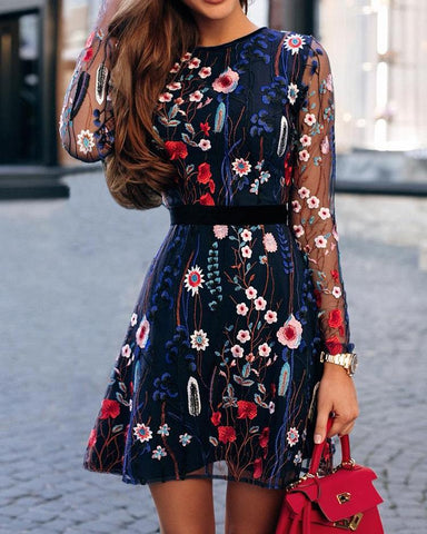 Floral Embroidery Mesh Sleeve Mini Dress