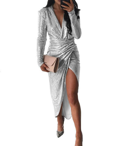 Deep V Sequined Asymmetrical Dress