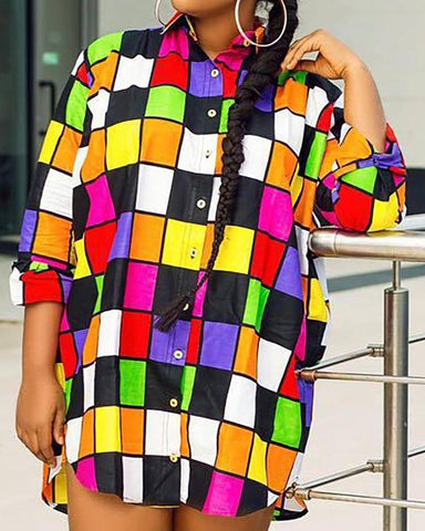 Colorful Grid Buttoned Shirt Dress