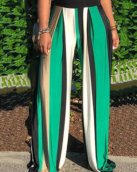 Vertical Bar Striped Wide-Legged Pant