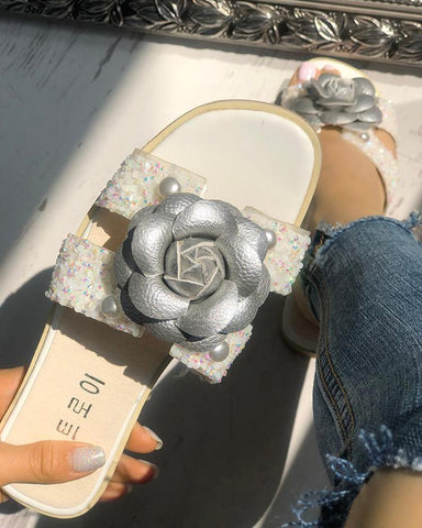 Shiny Cutout Flower Embellished Slippers
