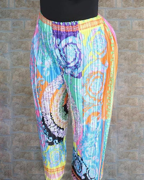 Colorful Random Print Casual Pants
