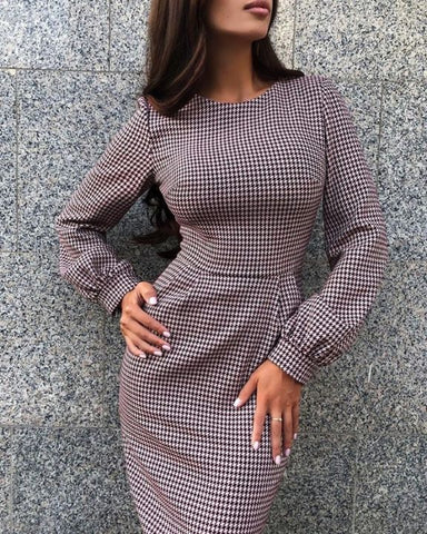 Grid Long Sleeve Bodycon Dress