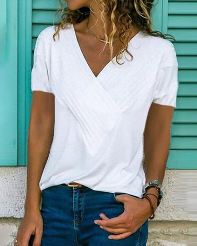 Solid V-Neck Crisscross Casual T-Shirt