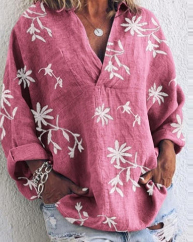 Flax Print V Neck Loose Blouse Top