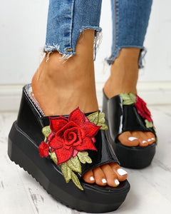 Applique Chunky Platform Sandals