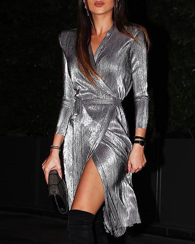 Glitter Padded Shoulder Surplice Wrap Dress