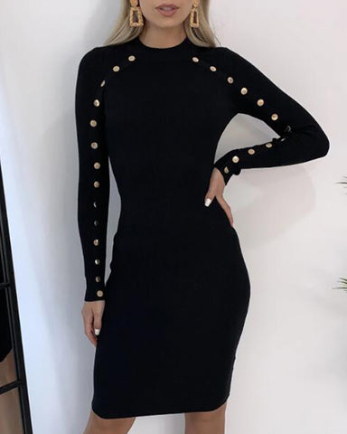 Mock Neck Long Sleeve Buttoned Bodycon Dress