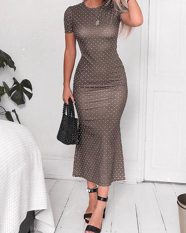 Polka Dots Short Sleeve Oversized Dress