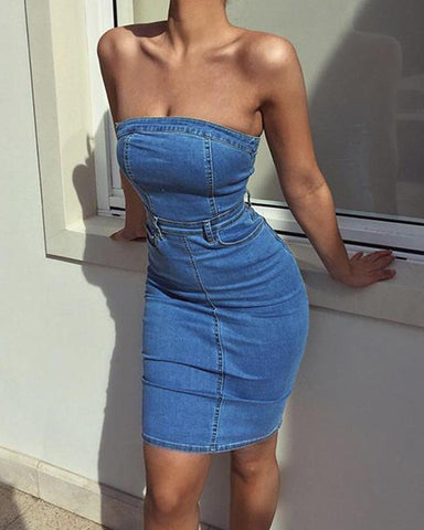 Off Shoulder Tube Denim Dress