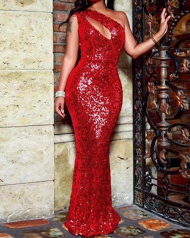 One Shoulder Cut Out Sequin Gown