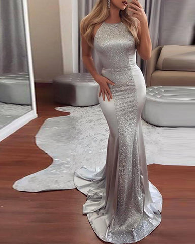 Halter Neck Sequined Court Train Maxi Dress