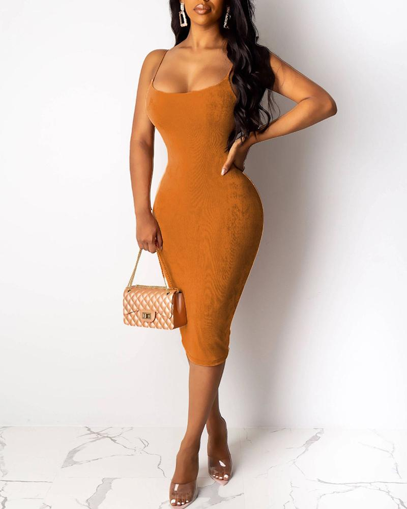Solid Spaghetti Strap Bodycon Dress & Casual Longline Coat Sets