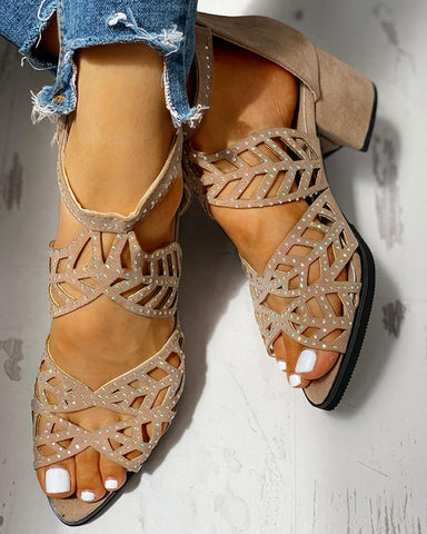 Studded Hollow Out Chunky Sandals