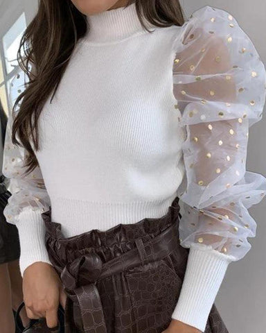 High Neck Mesh Sleeve Top