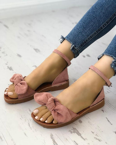 Solid Denim Bow Decorate Sandals