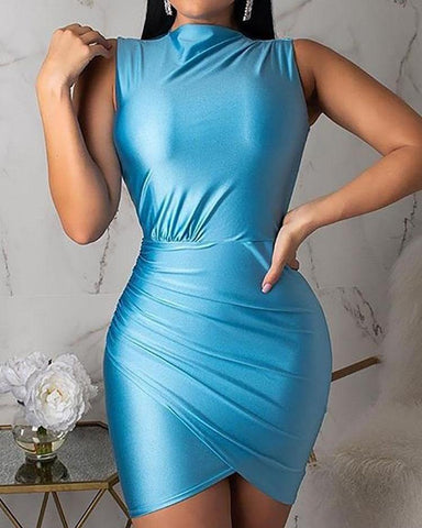 Surplice Ruched Overlap Bodycon Dress