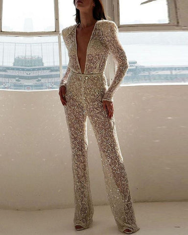 Plunge Long Sleeve Sequins Jumpsuit