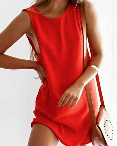 Solid Sleeveless A-line Midi Dress