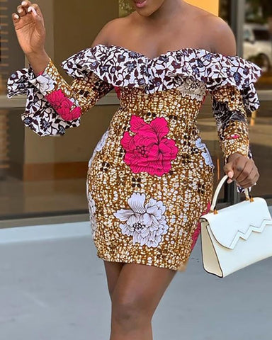 Colorful Print Ruffles Off Shoulder Dress