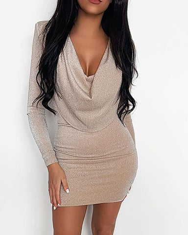 Glitter Cowl Neck Long Sleeve Bodycon Dress
