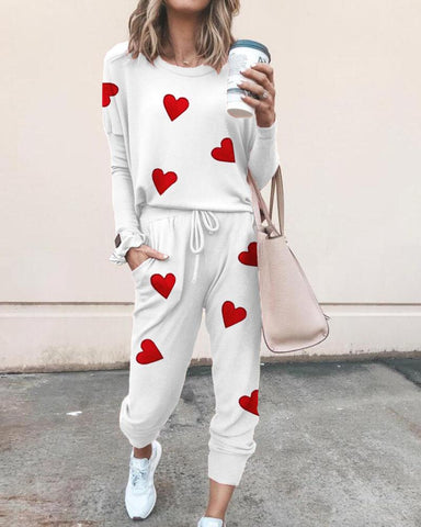 Heart Print Two-Piece Set