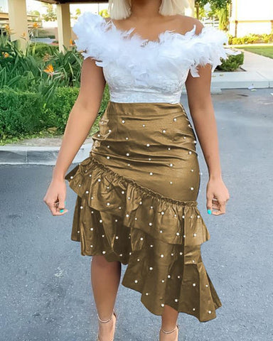 Cut Out Ripped Sequins Skirt