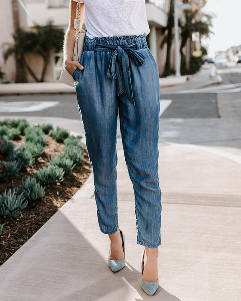 Casual High Waist Long Pants