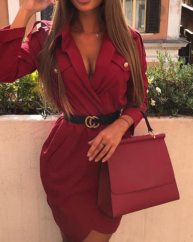 Deep V-Neck Irregular Blazer Dress
